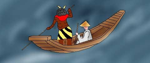 三途の川の渡し船のイラスト