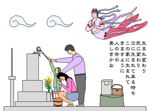 ひがんのお墓参りイラスト-家族遍-メッセージ付き